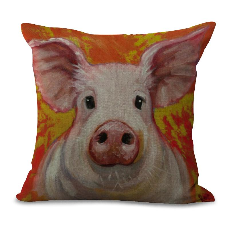 Beautiful Pig Pillow Case Cushion Covers Throw Sofa Home Decor Yellow Red